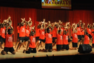 Hands in the sky at AileyCamp Miami Final Performance at the Adrienne Arsht Center
