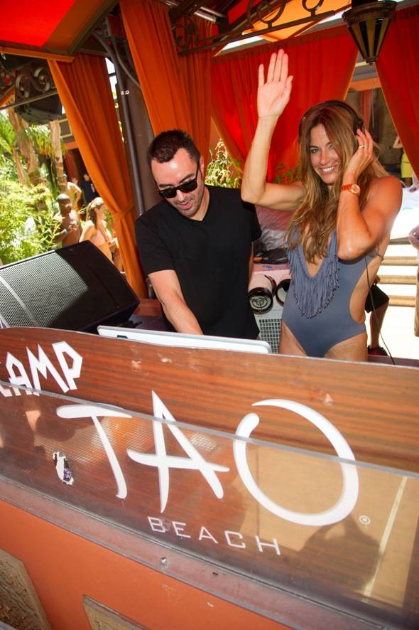 Kelly Bensimon with DJ Lema_TAO Beach_Hpnotiq