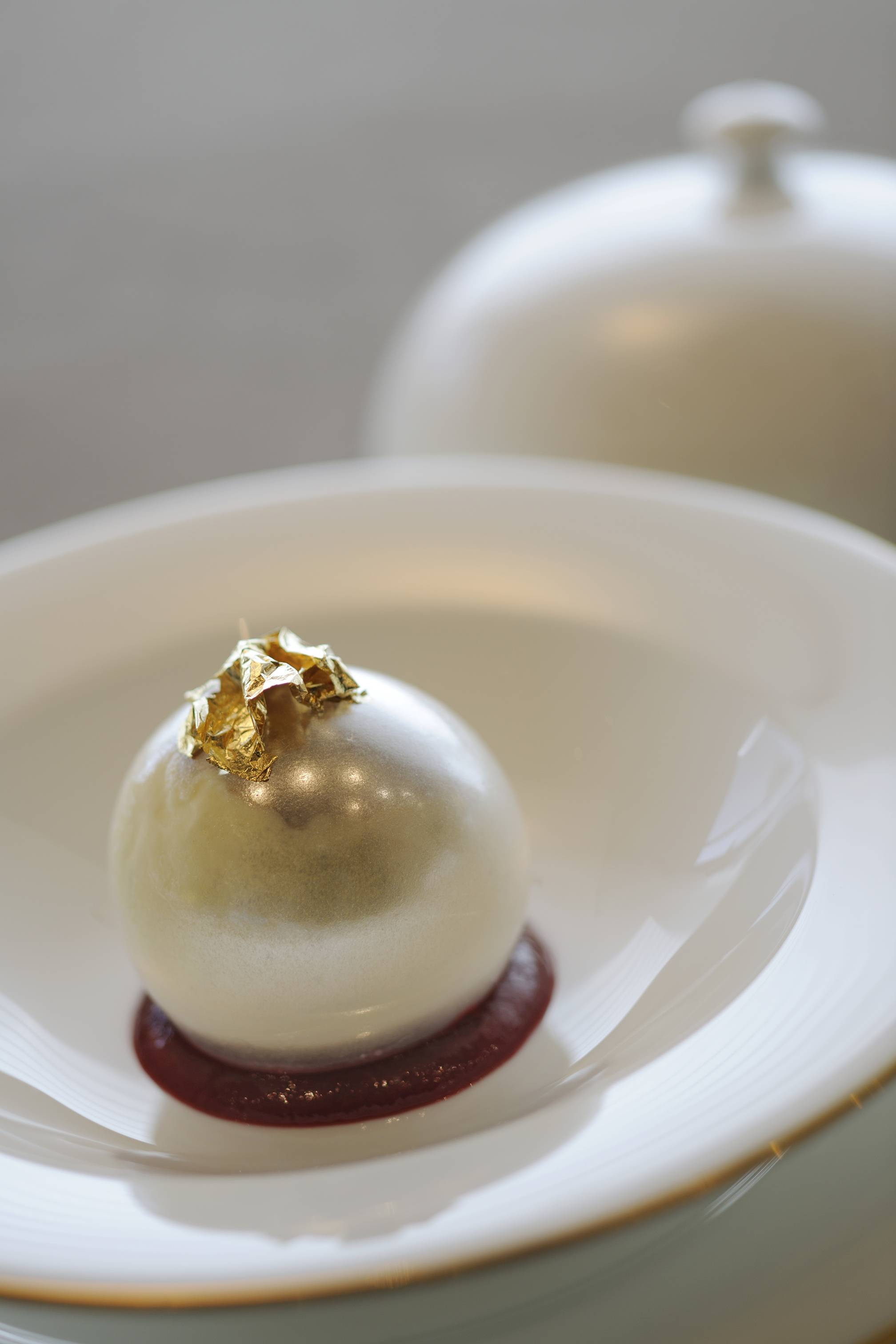 AHD – White Chocolate and Vanilla Sphere with Cassis Sorbet