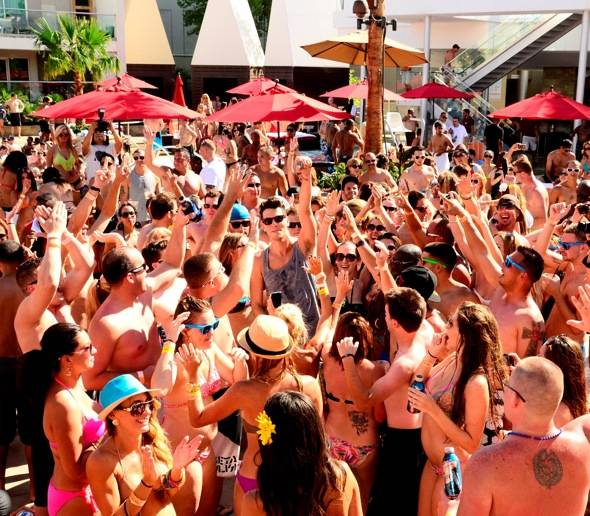 Cobra Starship's Gabe Saporta jumps into the crowd at Ditch Fridays at Palms Casino Resort 8.3.12