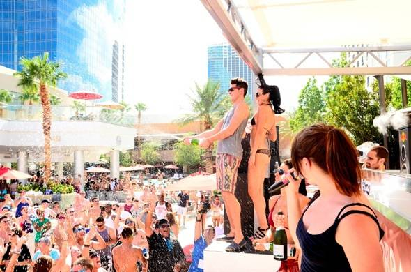 Cobra Starship's Gabe Saporta sprays champagne onto the crowd at Ditch Fridays at Palms Casino Resort 8.3.12