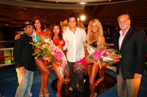 MGM Grand Ring Girl Competition - Winners and Judges in Ring- 8.17.12
