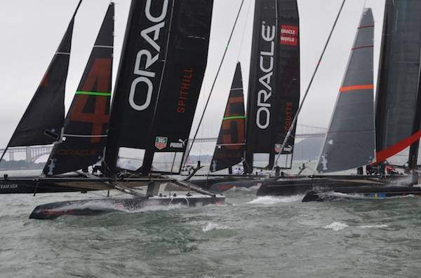 Oracle Team USA Spithill and  Coutts leading the fleet race Aug. 23