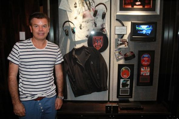 Paul Oakenfold in front of case dedication