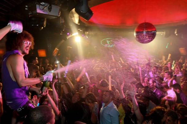 Redfoo sprays champagne_LAVO