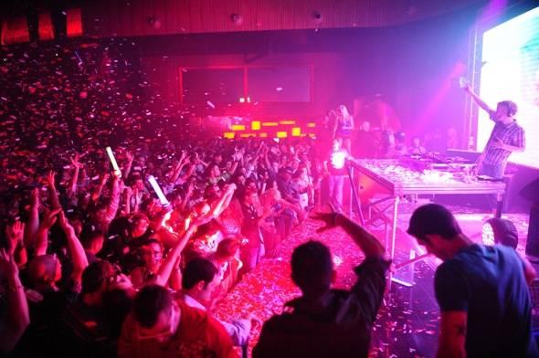 Rusko with the crowd at Rain Nightclub in Las Vegas 8.4.12
