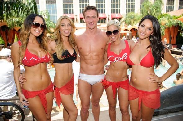 Olympic gold medalist, Ryan Lochte, celebrates at TAO Beach