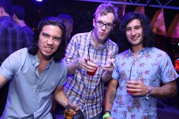 Sex Panther DJs Ryan Fontana and Aaron Pruss with Rusko at Midsummer Lingerie Masquerade 8.4.12
