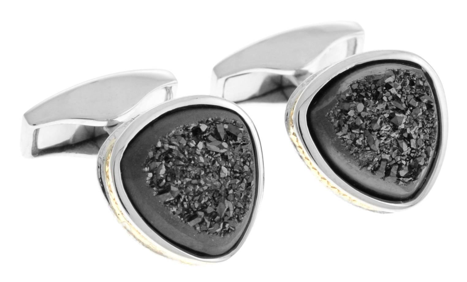 Tateossian Spazio Black Knight & Titanium Drusy Cufflinks