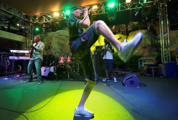 Yellowman performs at the Hard Rock pool in Las Vegas on Friday, Sept. 14, 2012.