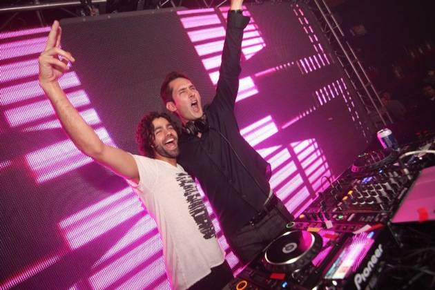Adrian Grenier with Instagram's Kevin Systrom in the DJ booth at Rain Nightclub 9.29.12