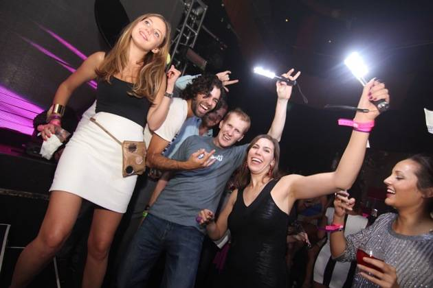 Adrian Grenier with friends at Rain Nightclub 9.29.12