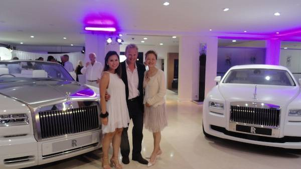 At Rolls Royce party with Director of Merrill Lynch Wealth Management Elaine Foo and Tim Clark of Ocean Independence UK