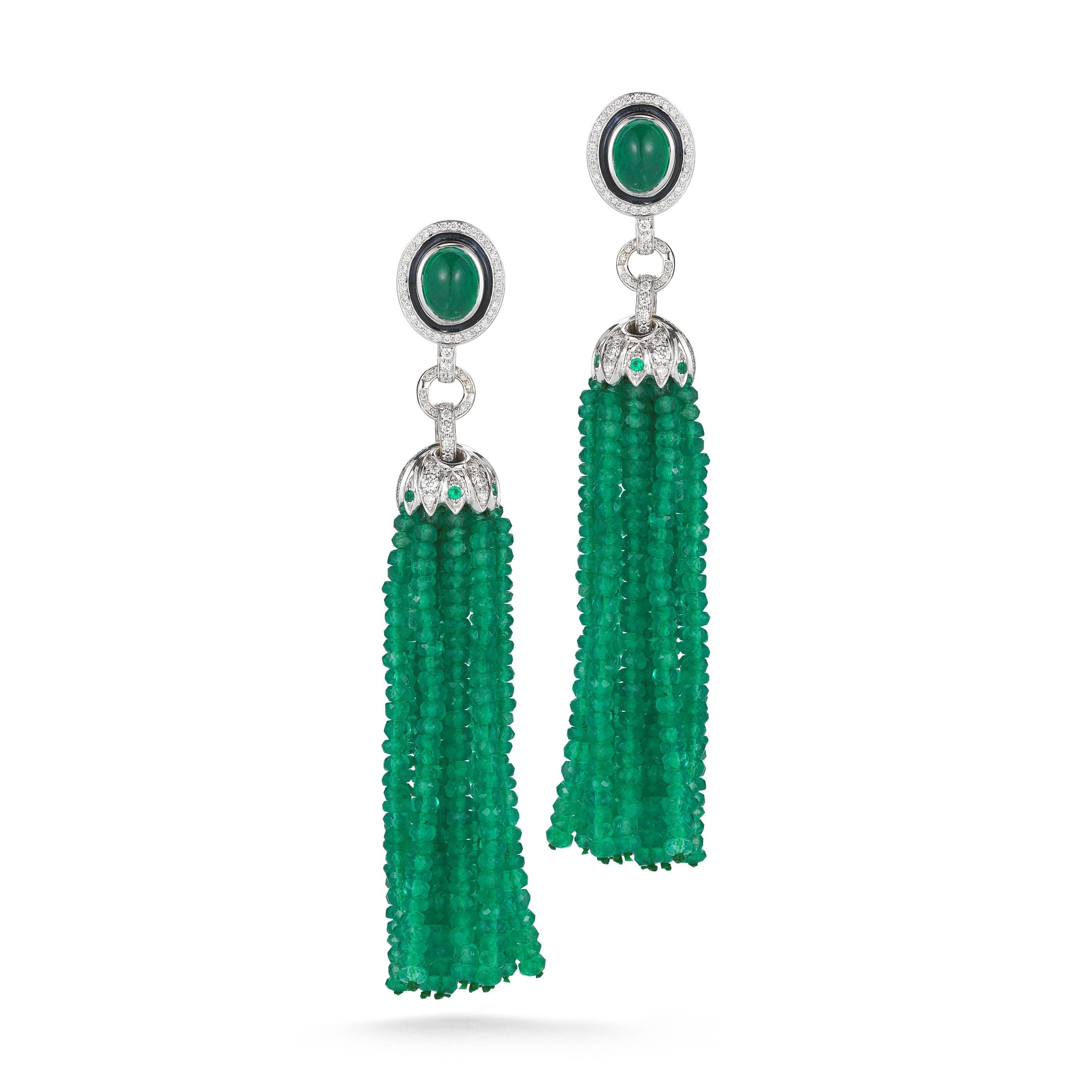 Ivanka Trump Lao Tong Emerald Diamond Tassel Earrings at Harvey Nichols Dubai