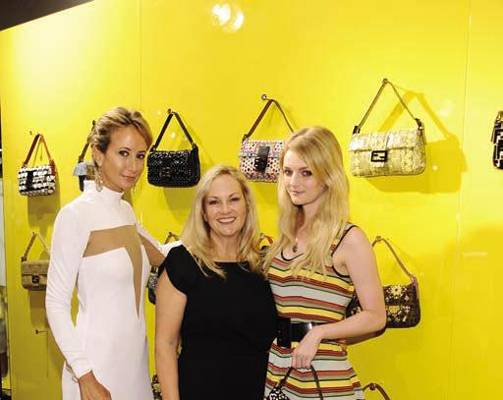 Lady Victoria Hervey, Patricia Hearst and Lydia Hearst (wearing FENDI)