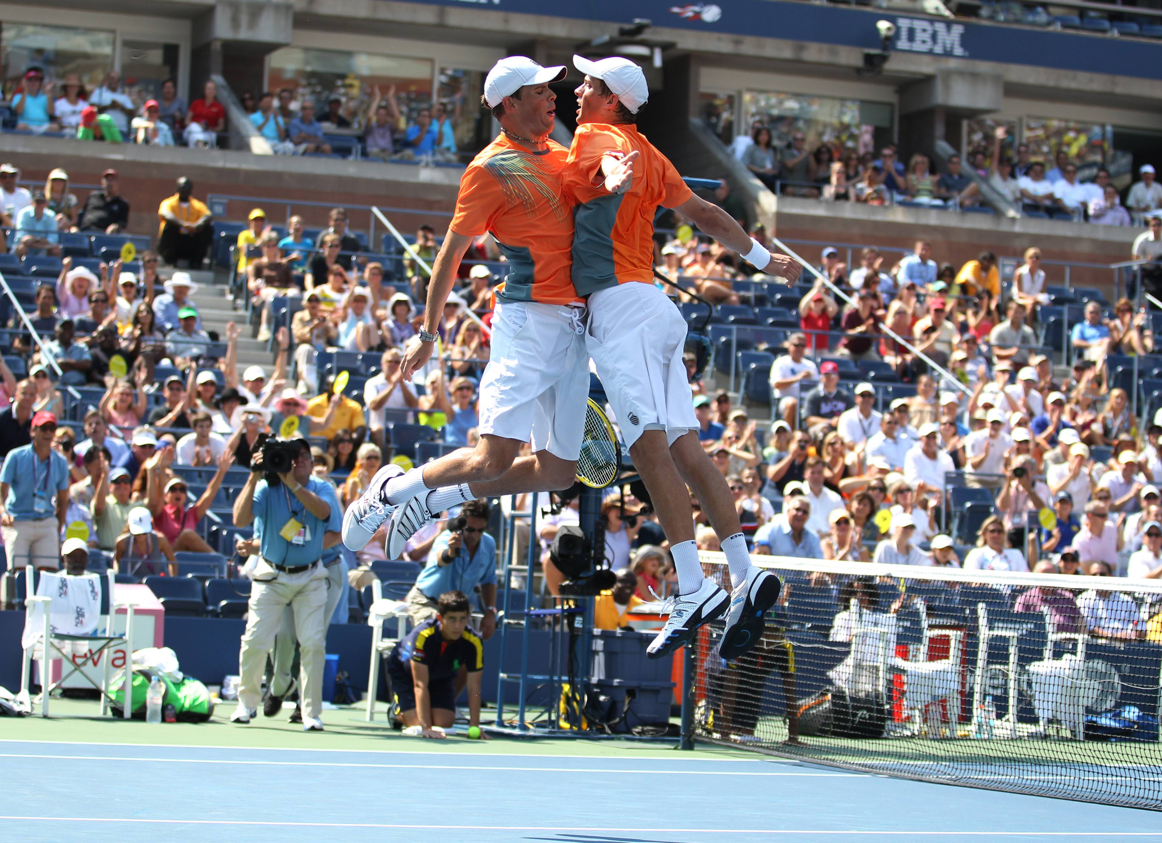 Mike and Bob Bryan Celebrate with their Signature Chest Bump