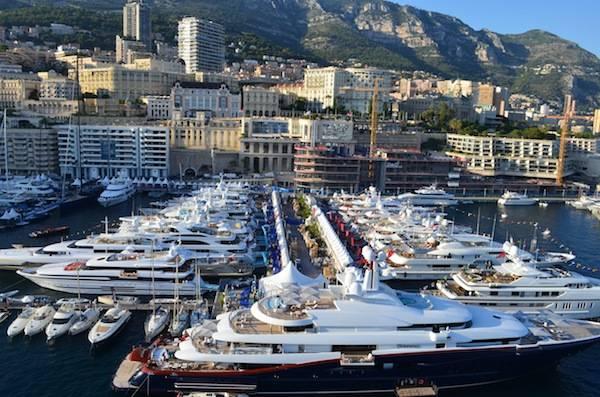 Monaco Yacht Show from atop Athena's 192 feet mast