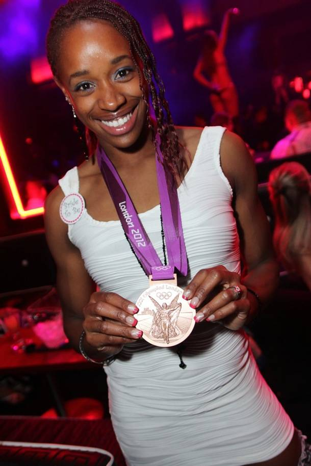 Olympian Janay DeLoach with her Bronze Medal at Rain Nightclub in Las Vegas 9.1.12