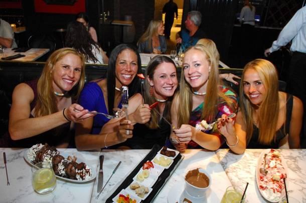 Team USA Womens Soccer Team has fun with dessert at Sugar Factory
