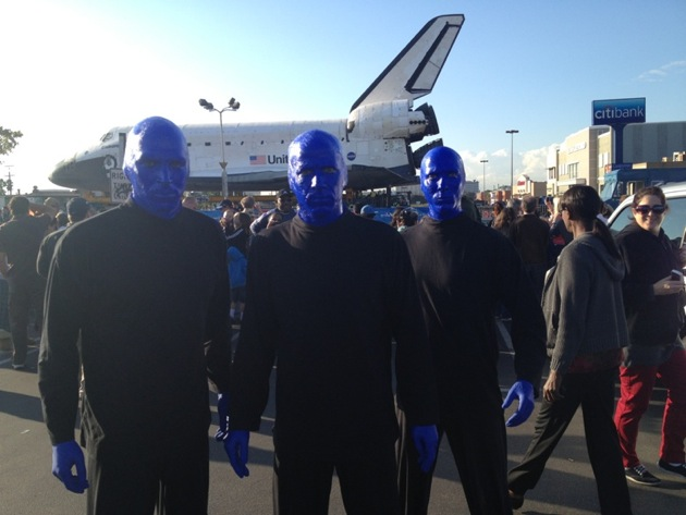 10.12.12 Blue Man Group spotted checking out the space shuttle endeavor in Los Angeles (2)