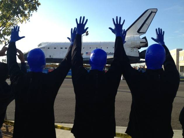 10.12.12 Blue Man Group spotted checking out the space shuttle endeavor in Los Angeles (3)
