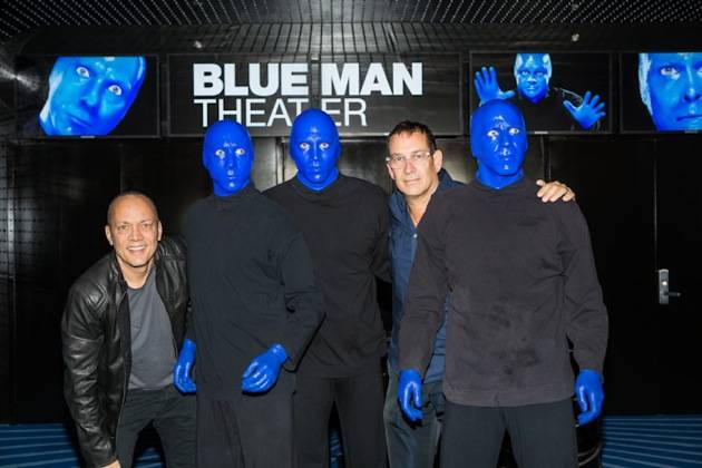 Blue Man Group Founders Chris Wink and Phil Stanton with Blue Ma