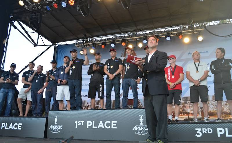 Award ceremony-winners Oracle Team Spithill, JP Morgan BAR, Team Artemis Hutchinson