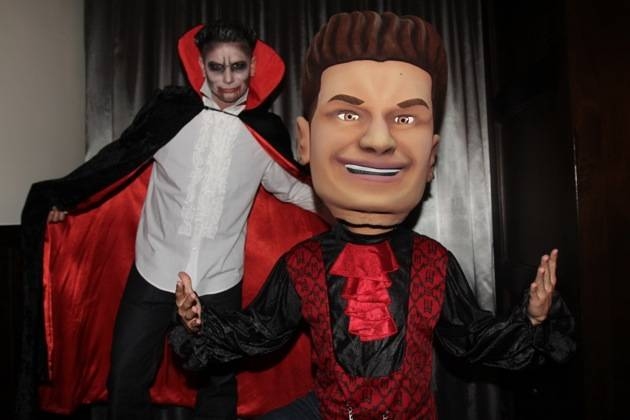 DJ Pauly D poses with his big head as he hosts the Sinner's Ball at Vanity Nightclub 10 28 12