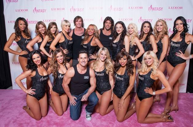 FANTASY Cast with Thunder From Down Under on pink carpet