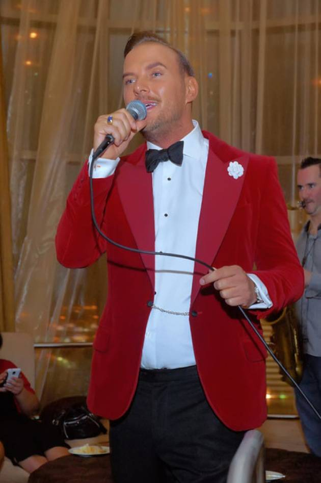 Matt Goss entertains friends at the celebration for his birthday and 300th Vegas show.