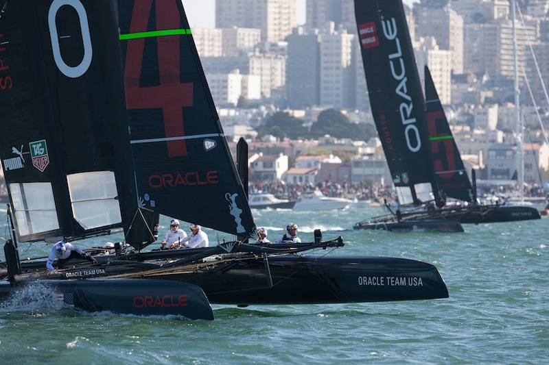 Oracle Team USA won first and second places at finish line