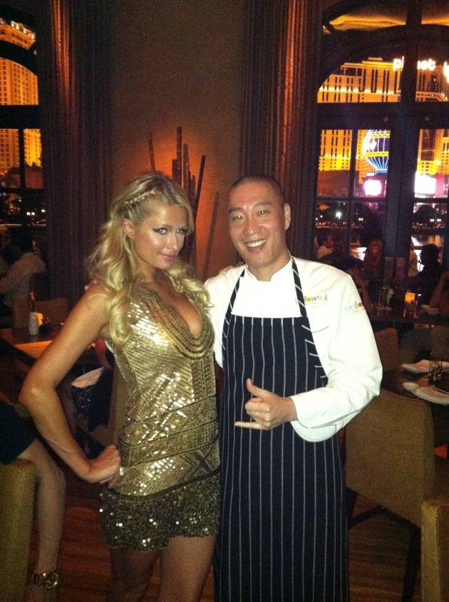 Paris Hilton and chef Akira Back.