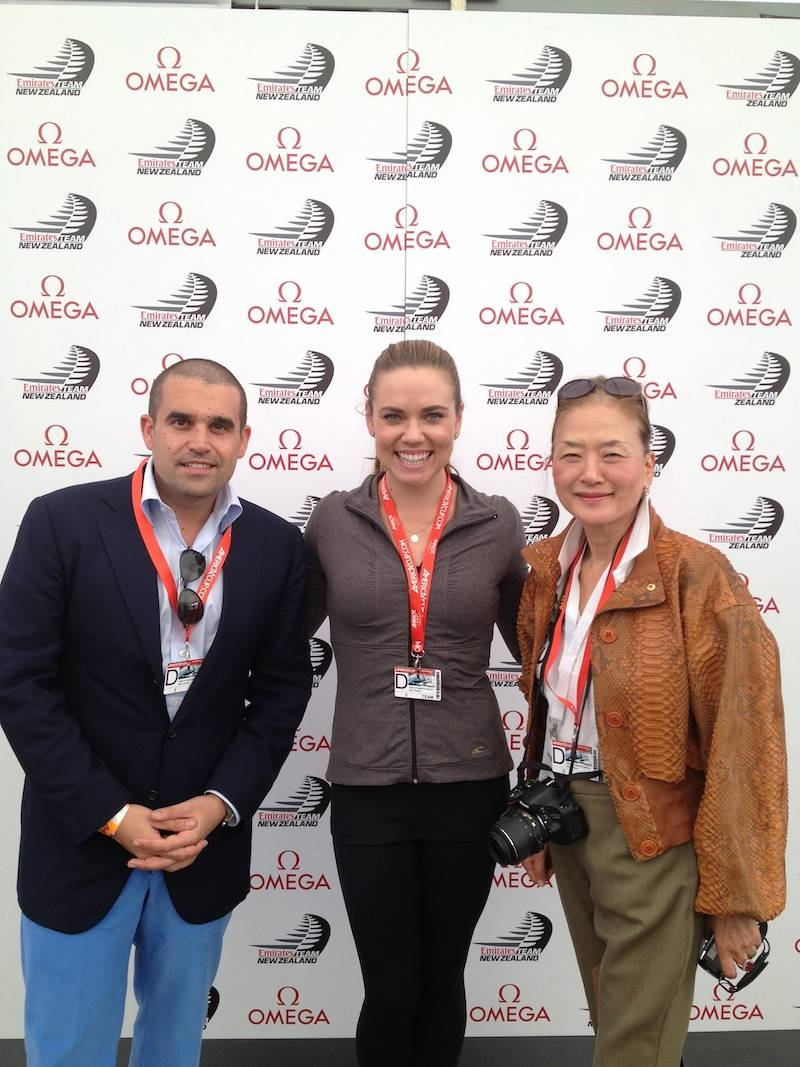 Seth and Olivia with Olympic gold medalist Natalie Coughlin, who was a guest racer on Team New Zealand