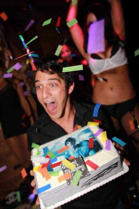 Teen Wolf's Tyler Posey is greeted with a cake and confetti showers for his birthday 10 27 12