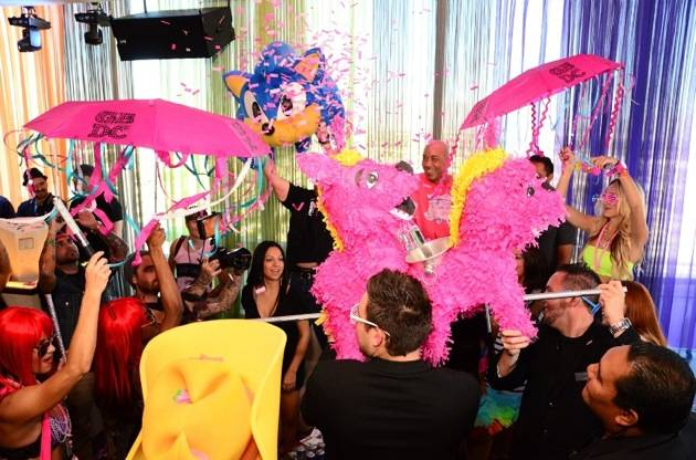 VIP bottle presentation with love bird pinatas at GBDC in ghostbar Las Vegas 10.20.12