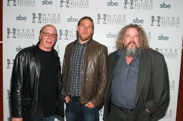 Charlie Hunnam, Dayton Callie and Mark Boone Jr on red carpet, Hyde Bellagio, Las Vegas 11.10