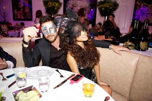 Bagatelle Las Vegas Preview Party - Halloween Night inside Tropicana Resort, Las Vegas. October 31, 2012  Left: Dylan McDermott with Friend (Photo by CarlosLarios/Invision/AP)