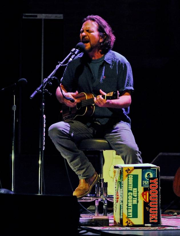 Musician Eddie Vedder performs at The Pearl concert theater at the Palms Casino Resort on November 1, 2012 in Las Vegas. (photo by David Becker)