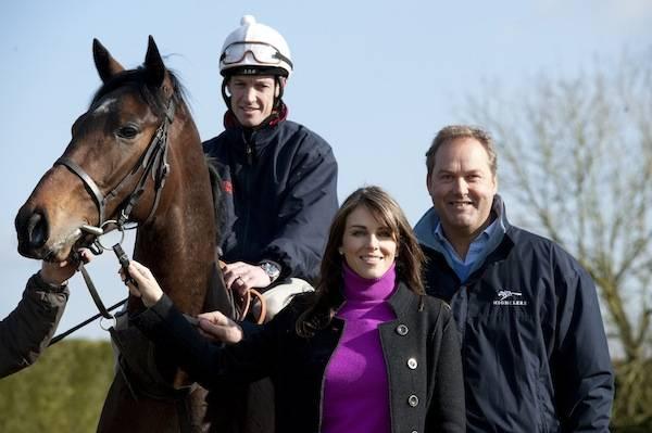 Highclere_2012 Champion Jockey Richard Hughes riding Census + Liz  Hurley + Harry Herbert