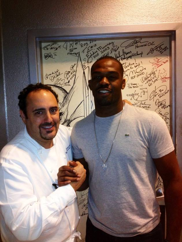 Jon Jones with Chef Barry Dakake at N9NE Steakhouse in Las Vegas