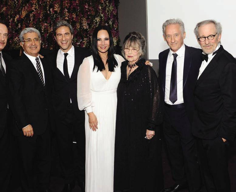 Tom Hanks; LACMA Trustee Terry Semel; LACMA CEO and Wallis Annenberg Director Michael Govan; LACMA Art + Film Gala Co-chair Eva Chow; Christiane Kubrick; Honoree Ed Ruscha; and Steven Spielberg