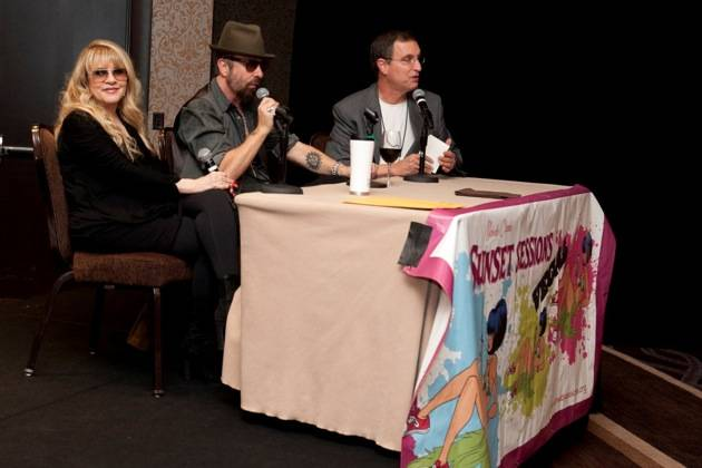 November 9, 2012, Las Vegas, Nevada, USA, Sunset Sessions Vegas - Stevie Nicks, Dave Stewart, and Dennis Constantine discussing Stevie's movie In Your Dreams after a private screening at Sunset Sessions Vegas at the Cosmopolitan Hotel in Las Vegas Nevada.