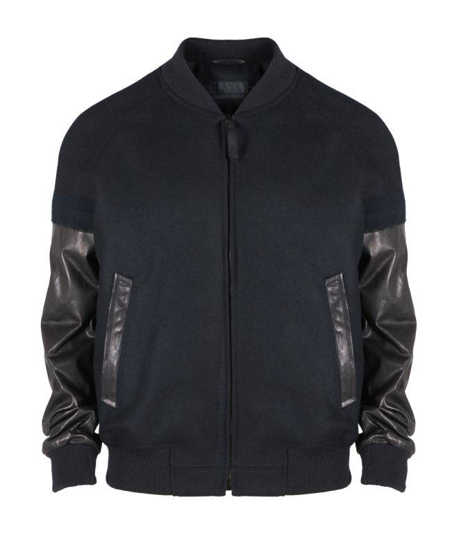 Alexander McQueen Felt leather needle detail bomber jacket AED14,000