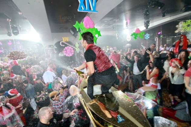 Apollo Anton Ohno sprays champagne at XIV Vegas Sessions at Hyde Bellagio, 12.16.12