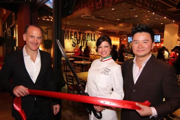 Carla Pellegrino Tom Recine and Jesse Shen Prepare to Cut the Red Ribbon