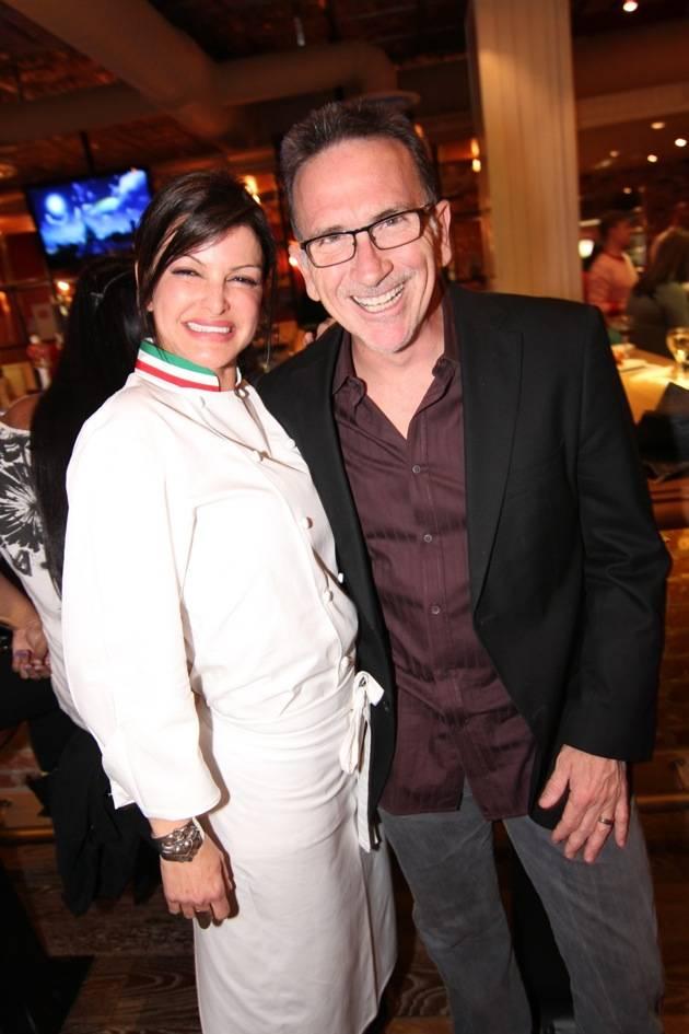 Carla Pellegrino and Rick Moonen Pose at Meatball Spot's Grand Opening