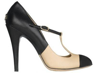 Chanel beige black t-bar two tone shoe pictures