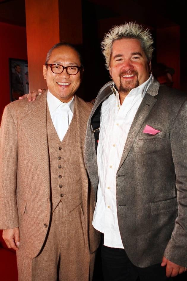 Chef Morimoto and Chef Fieri at Gordon Ramsay Pub and Grill at Caesars Palace Opening Night