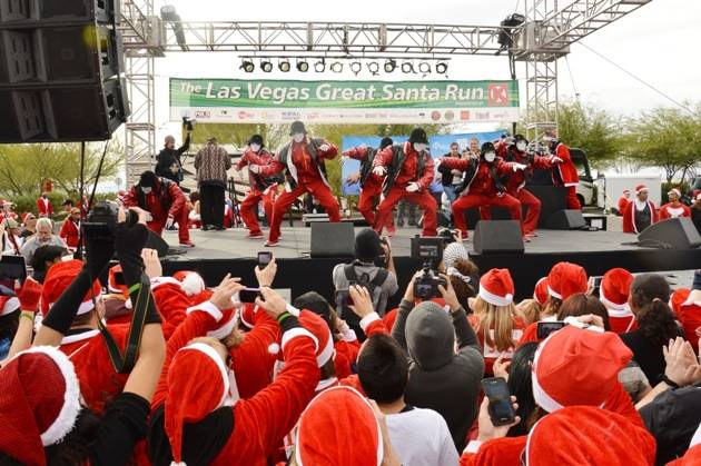 Jabbawockeez perform at Las Vegas Great Santa Run, December 1, 2012, Town Square