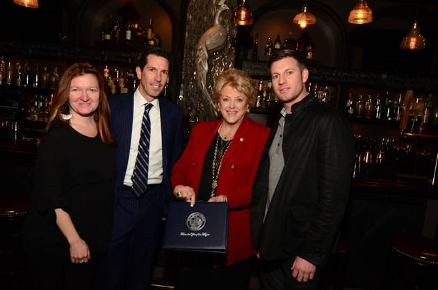 Kenna Warner, Mike Parks, Mayor Carolyn Goodman and Ryan Doherty with the Certificate of Recognition